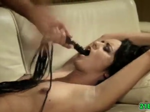 Brunette gets treated with sex toys before facial
