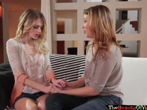 Horny lesbians licking pussy and rubbing clit