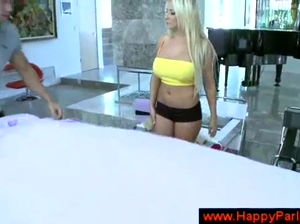 Blonde responds sexually to a massage
