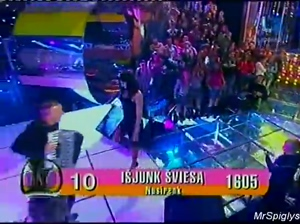 Topless on live TV music contest