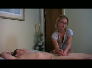 Sexy lady ties a man on the bed before milking his cock