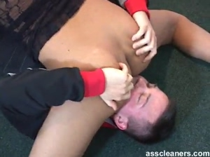 Acrobatic lady lets a man lick her ass hole in different positions