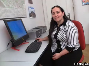 Fat office babe must fuck her client