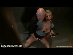 Bald man sexually dominates the bound blonde