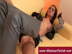 Lesbian in satin licks girls latex boots