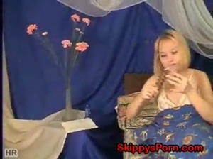 Russian teen with new vibrator