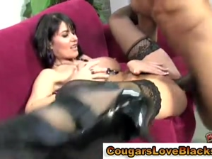Interracial Eva Karrera gets a mouthful of cum