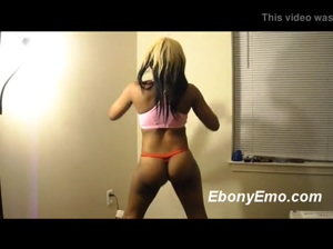 Phat Ebony Booty Shaking In A Thong
