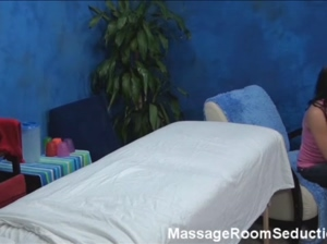 Cute teen seduced in massage room
