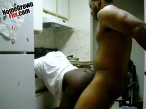 Chocolate ass backshots in the kitchen  HomeGrownFlix.com  Ebony Homemade