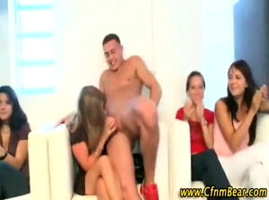 Babe jizzed by CFNM stripper at CFNM party