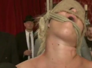 Harshly tied blonde in gang fuck show