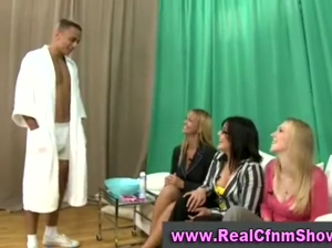 Naked guy shaved by cfnm chicks