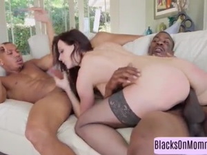 Sexy brunette milf services two black dicks