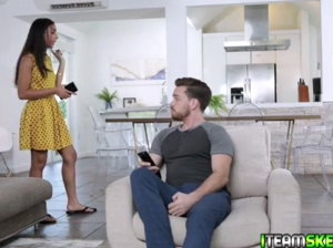 Claire Black sucking the studs man meat after stripping down and showing her beautiful silky brown skin